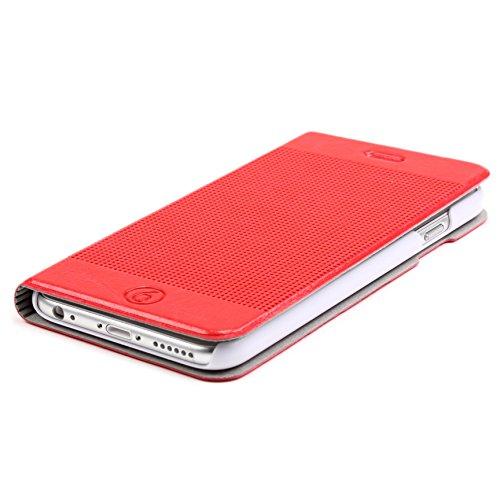 URCOVER Housse Etui Portefeuille pour Apple iPhone 6 / 6s Plus | Coque Wallet de protection á Rabat | Cover Ultra Mince Compartiment de Cartes et Support Intégré en Marron Clair Rouge