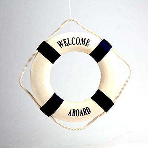 Kicode La decoración mediterránea del bote salvavidas a bordo de la boya de vida decorativo Decoración 14CM (azul)