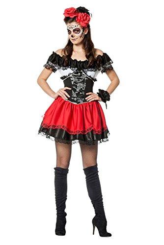(Damen Kostüm Dia de los muertos Skelett Karneval Halloween Gr.38)