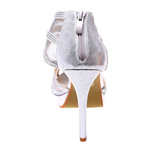 La Modeuse - Sandales scintillantes grande taille à talon fin et plateforme Argenté