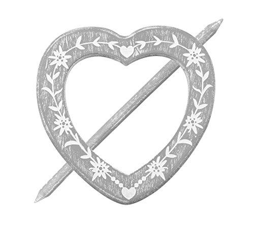 Raffhalter Gardinenspange Holz Herz mit Gravur und Separatem Stift, Farbe Wählbar (Grau)