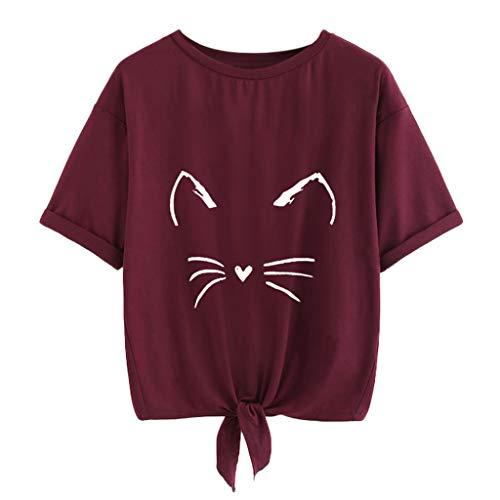 Damen Beiläufig Katze Drucken Solide Kurzarm Bluse USDF Gelegenheitsspiele Kurz Tops T-Shirt 2019