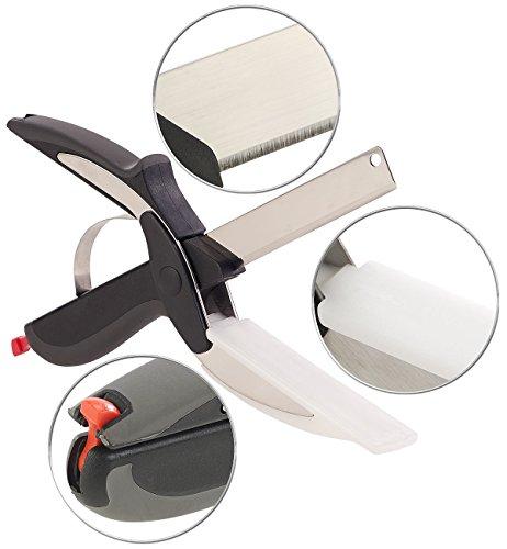 Rosenstein & Söhne Gemüseschere: 2in1-Küchenschneider-Schere mit Messer und integriertem Schneidebrett (Haushaltsschere)