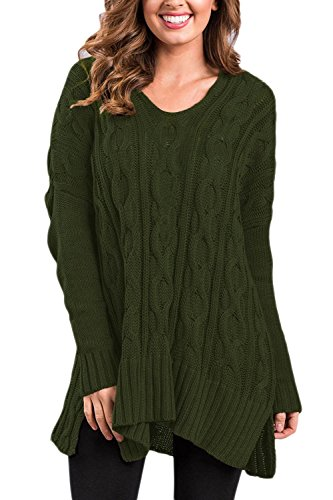 Les Femmes L'hiver Tricot Crochet Pull Col V Côté Tranché Pull Haut De La Page Armygreen