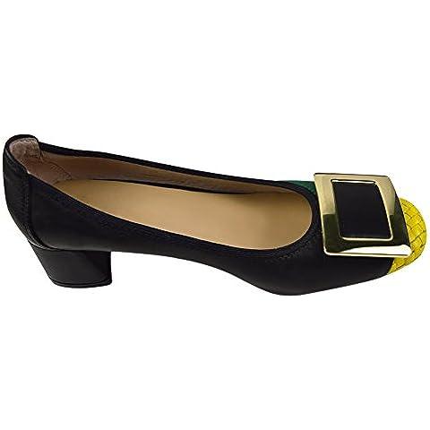 Signore delle donne scivolare su pelle di pecora Mid-tacco scarpe