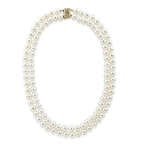akwaya Damen 14K Doppelstrang Halskette AAA 18in