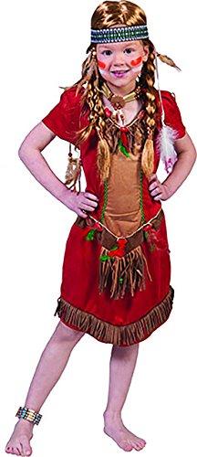 erdbeerclown - Mehrfarbiges Indianer Kostüm für Mädchen, 116-122, 6-7 Jahre, Mehrfarbig