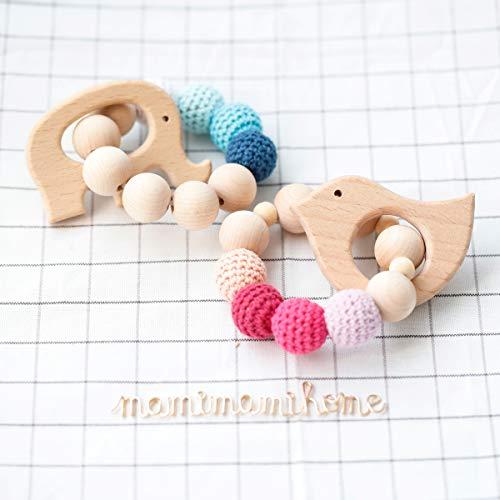 Mamimami Home 2pc Baby Wooden Teethers Organic umweltfreundliche Holz Elefant Vogel geformt Kinderkrankheiten Nursing Armband Kauartikel Toy Montessori Baby-Zahnen Geschenk-Teether Spielzeug