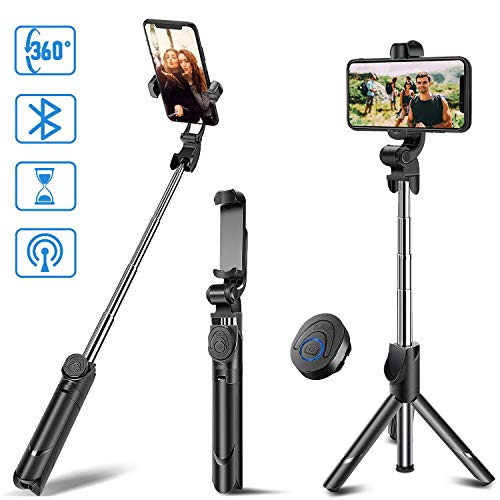 Bastone Selfie Treppiede, Estensibile Bluetooth Bastoni Selfie , 3 in 1 Treppiede Selfie Stick con Bluetooth Remote Shutter per iPhoneX XS XR 8 Plus 7 Plus 6s Android Samsung Galaxy/Note/Huawei