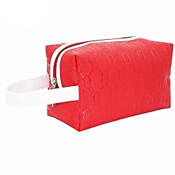 Elevin(TM) Portable Multifunction Folding Travel Cosmetic Bag Embossed Makeup Case Pouch Toiletry Organizer (Red)