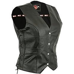 Texpeed - Chaleco de motorista para mujer - Con cordones y bolsillos - Cuero - EU52 - Pecho 127 cm