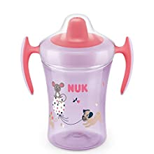 NUK Trainer Cup Sippy Cup | Leak-Proof Soft Drinking Spout | 6+ Months | BPA-Free | 230ml | Mouse (Pink) | 1 Count