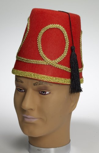 Deluxe Red Fez Hat One Size Fits Most (Goten Kostüme)