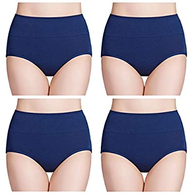 Wirarpa Damen Unterhosen Baumwolle 4er Pack Slips Damen mit Hoher Taille Atmungsaktive Taillenslip TOLLE QUALITÄT