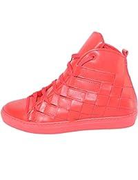 Sneakers Alta Scarpe Uomo Rosso Made in Italy Intreccio Grande a Mano Vera  Pelle Top a1e0fd4a47b
