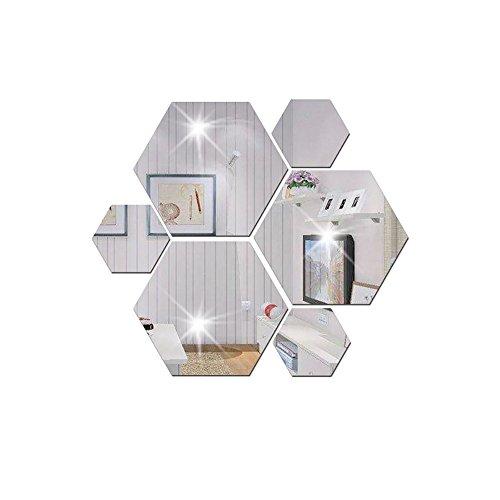 Sencillo Vida Espejo 7 Piezas Hexagon Espejo de acrílico Wall Stickers decoración de la Pared Decoración...
