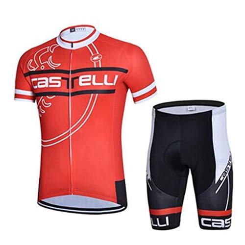 HYYSH Frühling und Sommer Radfahren Kurzarmhemd Herren Shorts Anzug Mountainbike Bekleidung Rennrad Ausrüstung (Color : Orange, Size : XXXXXL)