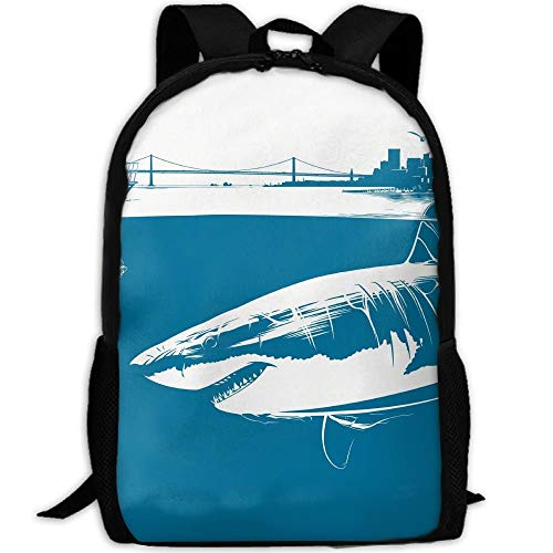 TRFashion Summer Beach Shark Diving Unisex Custom Backpack School Casual Sports Book Bags Durable Oxford College Laptop Computer Shoulder Bags Lightweight Travel Daypacks Rucksack