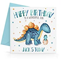 Personalised Boys Blue Dinosaur Birthday Card Any Age, Relative & Message