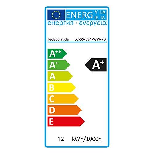 ledscom.de GX53 LED Leuchtmittel 11,5W=62W 830lm 100° warm-weiß, 3 STK.