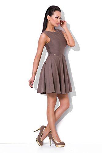 Futuro Fashion Magnifique Uni Femmes élégant Robe Patineuse Col Bateau Sans manches Soirée Mode 8-16 UK FJ01 Cappuccino