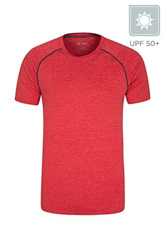 Mountain Warehouse Agra Gestreiftes IsoCool Herren-T-Shirt - Hemd mit LSF30+, Leichtes T-Shirt, Schnelltrocknend, Atmungsaktives Oberteil - Ideal Zum Reisen, Wandern Rot XX-Large