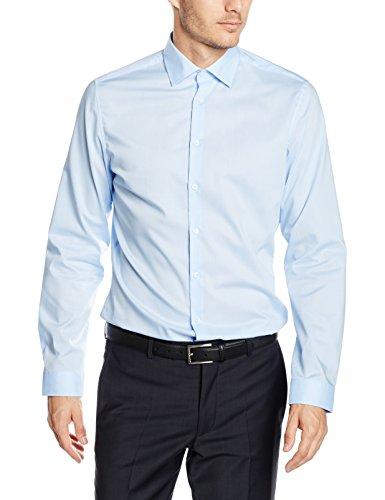 Seidensticker Herren Business Hemd Slim Fit Langarm Uni mit Kent-Kragen Bügelfrei, Blau (Blau 12), Kragenweite: 39 cm