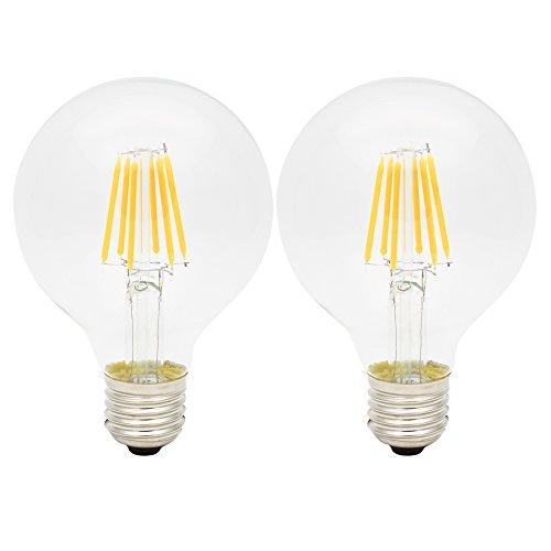 2er G80 E27 6W Glühbirne LED Edison Lampe Vintage Retro Stil Filament Birne Ersatz 50W,2300K Warmweiß,AC 220V-240V,Nicht dimmbar