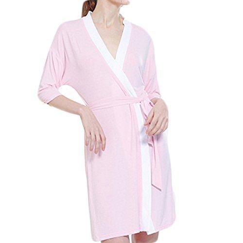 Women's Pyjamas Baumwolle Und Modal Nachthemd Waffel Morgenmantel Robe Bademantel Für Die Dame All Seasons,Pink-L (Womens Roben Modal)