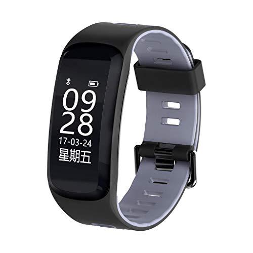 AMCER Fitness-Aktivität Tracker, Smart Pulsmesser Uhr, wasserdicht Sport Armband, Wireless Bluetooth Pedometer Armband für Android und iOS, Schrittzähler und Kalorienzähler Grey