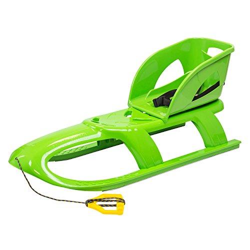 Kinderschlitten Schlitten Rodel mit Rückenlehne Schlittenaufsatz Babyaufsatz Zugseil Metallaufschienen grün