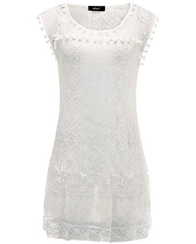 AIYUE Abito Donna Vestiti Estiti Senza Maniche Pizza Bianco Palla Bordado Allentato Vestito Corte Dress Femminile per Festa Ballo Partito(L)