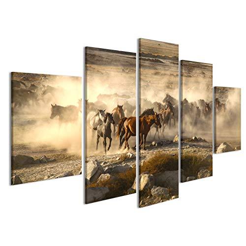 islandburner Bild auf Leinwand Durchgang von Wilden Pferden ist ganzjährig, Pferde Wandbild, Poster, Leinwandbild IPL-MFP