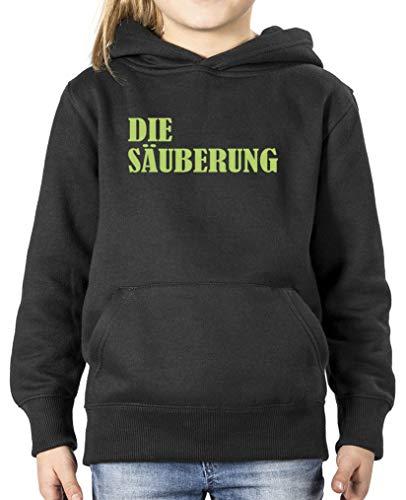 Comedy Shirts - Die Saeuberung - Mädchen Hoodie - Schwarz/Grün Gr. 110/116 (Säuberung Die Mädchen)