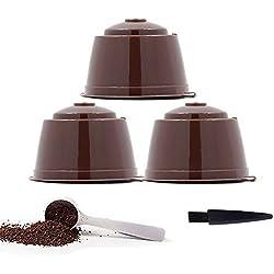 YISER Pack Cápsulas Filtros de Café Recargable Color Marron Reutilizable para Cafetera Dolce Gusto (PACK MARRON, 3)