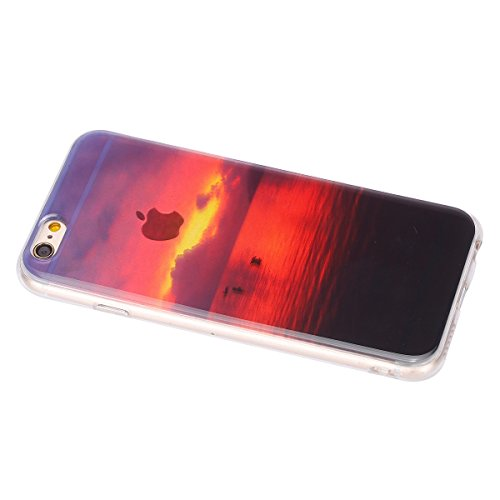 Felfy Hülle für iPhone 6S Plus,iPhone 6S Plus Case Crystal Hülle Klare Ultradünne Silikon Gel Schutzhülle Durchsichtig Muster Kristall Transparent TPU Silikon Schutz Handy Hülle Case Tasche Etui Bumpe Abendrot Case