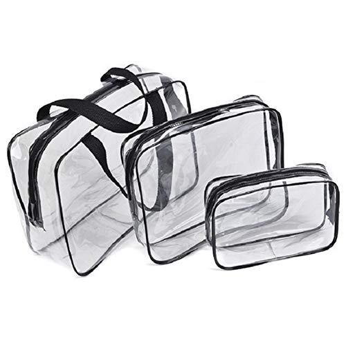 Joloy 3pcs Voyage de Toiletry Transparent étanche cosmétique PVC Lave Linge Sac 2 Zippered