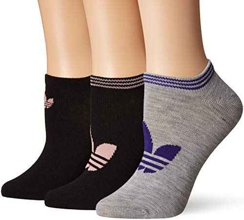 adidas Originals Damen Originals Trefoil Superlite No Show Socks (6-Pack) Black/Pink Spirit/White/Bluebird/Heather Grey/Collegiate Purple, Medium (Shoe Size 5-10) -