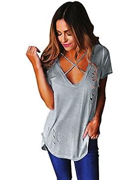 Maglietta T Shirt Donna Magliette Maniche Corte V Collo Criss Cross Camicie Top Estive Blusa Eleganti Magliette...