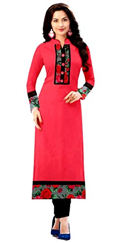 Great Indian Sale Kurti for women party wear Designer Dress Today best offers in Low Price Sale Pink Color Cotton Fabric Free Size Printed Top Kurta