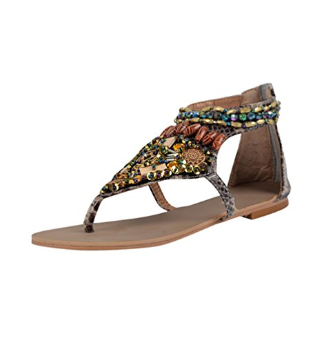 NiSeng Damen Ethnische Stil Sandalen Vintage Perlen Sandalen Böhmische Flache Sandalen Beige