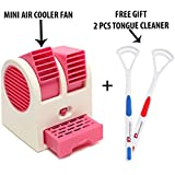 SHOPPPOSTREET Mini Fan & Portable Dual Bladeless Small Air Conditioner Water Air Cooler Powered by USB + 2 PCS Tongue Cleaner