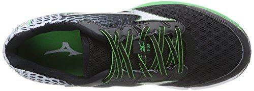 Mizuno Wave Rider 18, Chaussures de running entrainement homme Noir (black/silver/classic Green)