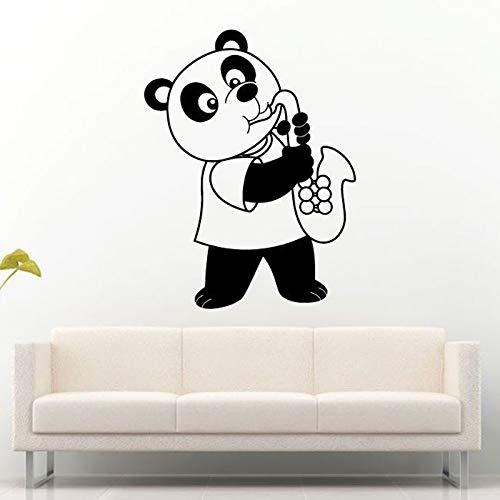 Tier Bär Asian Panda Spielen Saxophon Wandaufkleber für Kindergarten KinderzimmerSchöne WandtattoosBabys Schlafzimmer Vinyl Kunst42 * 55 cm - Asian Bar