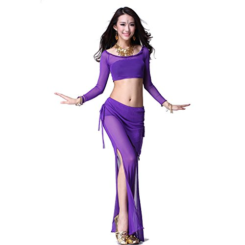 Danza del ventre Costume Set Nets Yarn lunga manica Top & Scarf Pantaloni purple