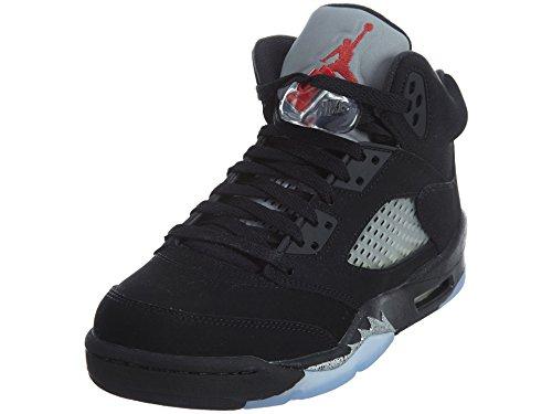 Nike Air Jordan 5 Retro Og Bg, espadrilles de basket-ball homme Noir (Noir / Rouge Feu-Metallic Silver-White)