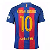 2016-17 Barcelona Home Football Soccer T-Shirt Trikot (Ronaldinho 10) - Kids