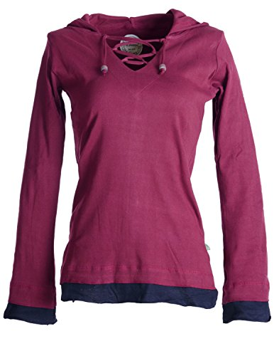Vishes – Alternative Bekleidung – Lagenlook Longsleeve Shirt mit Zipfelkapuze dunkelrot 34/36 (Alternative Kleidung)