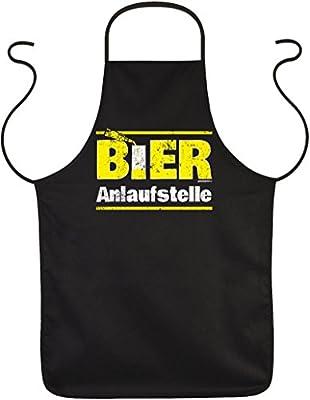 Goodman Design Schürze Bier Sprüche - lustige Partyschürze : Bier/Bier Anlaufstelle - Kochschürze schwarz
