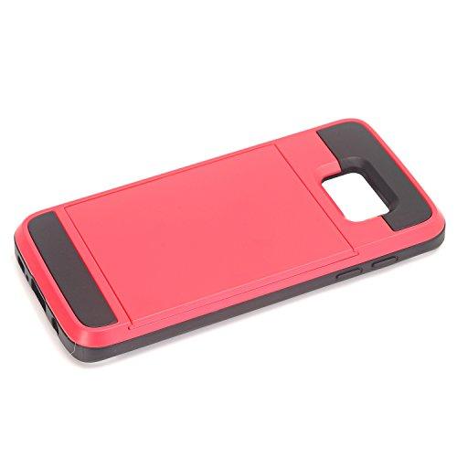 Galaxy S7 Edge Coque,EVERGREENBUYING [Slider Series] Ultra Slim léger 2 en 1 SM-G9350 Cases [Porte coulissante semi-automatique][Housse de Protection] [Fente pour Carte] Cover Pour Samsung GALAXY S7 E Rose